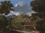 Poussin, Nicolas - Landscape with Antique Tomb and Two Figures