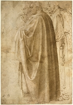 Buonarroti, Michelangelo - Three Standing Men in Wide Cloaks Turned to the Left