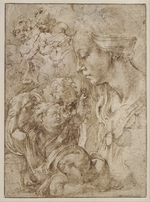 Buonarroti, Michelangelo - Studies for a Holy Family with John the Baptist as Child