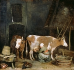 Ter Borch, Gerard, the Younger - A Maid Milking a Cow in a Barn