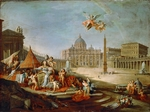 Pannini (Panini), Giovanni Paolo - Piazza San Pietro, Rome with an allegory of the Triumph of the Papacy
