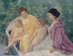 Cassatt, Mary - Le Bain (Two mothers and their children in a boat)