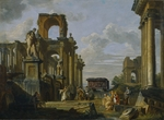 Pannini (Panini), Giovanni Paolo - Architectural Capriccio of the Roman Forum with Philosophers and Soldiers among Ancient Ruins
