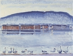 Hodler, Ferdinand - Lake Geneva with Mont Salève and Swans