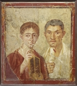 Roman-Pompeian wall painting - Portrait of the baker Terentius Neo and his wife