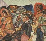 Lentulov, Aristarkh Vasilyevich - Self-Portrait with Artist's Models
