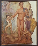 Classical Antiquities - Theseus the Liberator. Ancient Roman fresco from Herculaneum Basilica