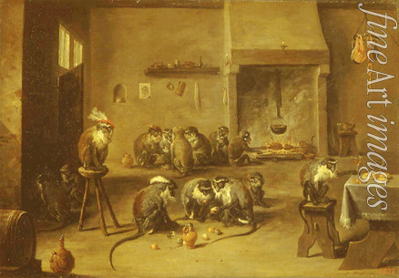 Teniers David the Younger - Monkeys in the Kitchen