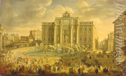 Pannini (Panini) Giovanni Paolo - The Trevi Fountain in Rome (Pope Benidict XIV visits the Trevi Fountain in Rome)