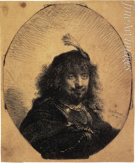 Rembrandt van Rhijn - Self-Portrait in a Cap with a Plume and a Sabre