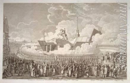 Melnikov Alexey Kupriyanovich - Opening of the equestrian statue of Peter the Great on Senate Square St. Petersburg in 1782