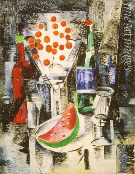 Exter Alexandra Alexandrovna - Still life with a vase and bottles (Vase with cherrys)