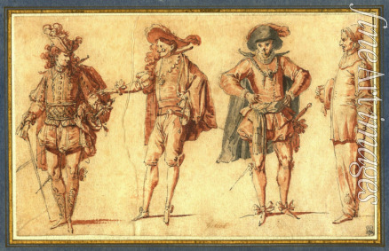 Gillot Claude - Four Commedia dell'arte Figures