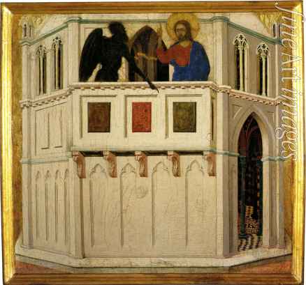 Duccio di Buoninsegna - The Temptation of Christ in the Temple (Pinnacle of the Temple) Detail of the Maesta Altarpiece