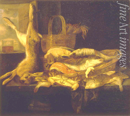 Beijeren Abraham Hendricksz van - Still life with Fishes and a dead Hare