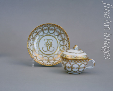 Russian master - Cup and Saucer with the Monogram of Catherine II (Imperial Porcelain Factory)