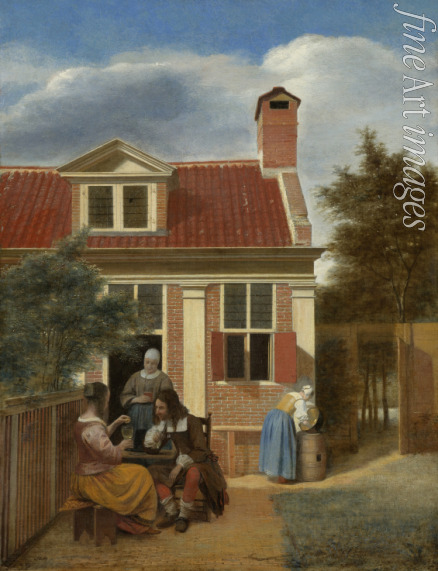 Hooch Pieter de - A company in the courtyard behind a house