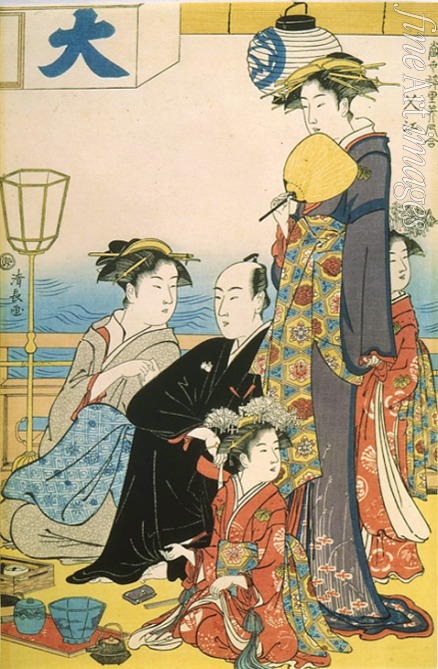 Kiyonaga Torii - Women of the Gay Quarters (Diptych, right part)