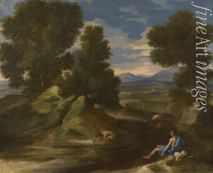 Poussin Nicolas - Landscape with a Man scooping Water from a Stream