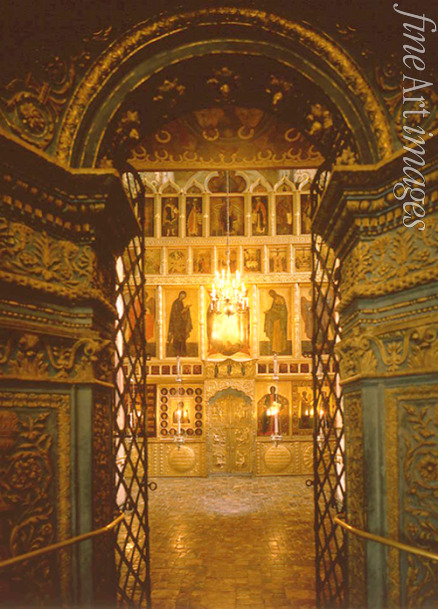 Old Russian Architecture - Interior with the iconostasis in the Annunciation Cathedral in the Moscow Kremlin