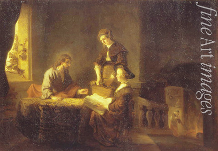 Rembrandt van Rhijn (School) - Christ in the House of Martha and Mary