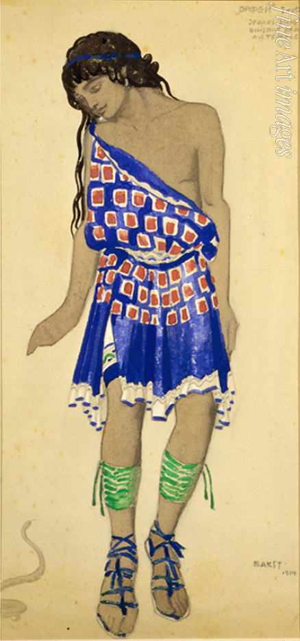 Bakst Léon - Youth from a wedding procession. Costume design for the ballet Orpheus by J. Roger-Ducasse
