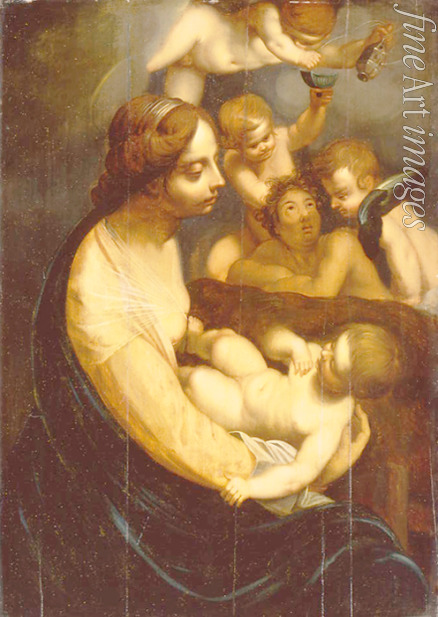 Italian master - Virgin and child with angels