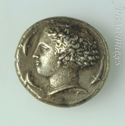 Numismatic Ancient Coins - Tetradrachma from Syracuse (Obverse: a Godess with dolphins)