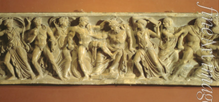 Art of Ancient Rome Classical sculpture - Orestes killing Aegisthus and Clytaemnestra (Relief of a sarcophagus)