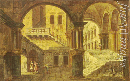 Marieschi Michele Giovanni - Courtyard with a Staircase
