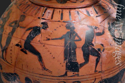 Antique Art - The long jump event at the ancient Olympic Games. Attic black-figured cup