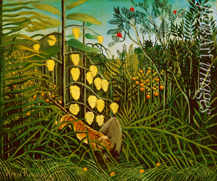 Rousseau Henri Julien Félix - In a tropical Forrest. Struggle between Tiger and Bull