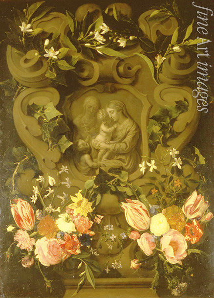 Seghers Daniel - Madonna and Child, Saint Elisabeth and John the Baptist as child in a floral garland