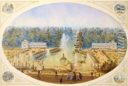 Charlemagne Jules - View of the Grand Cascade from terrace of the Grand Peterhof Palace