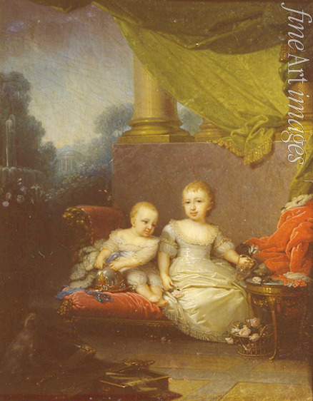 Borovikovsky Vladimir Lukich - Portrait of Grand Duchess Anna Pavlovna and Grand Duke Nicholas Pavlovich as children