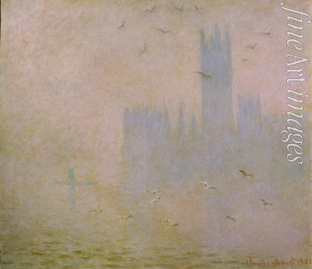 Monet Claude - Seagulls. The Thames in London. The Houses of Parliament