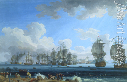 Hackert Jacob Philipp - The naval Battle of Chesma on 5 July 1770