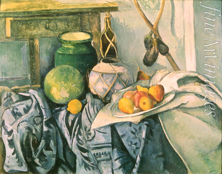Cézanne Paul - Still Life with a flagon and aubergines