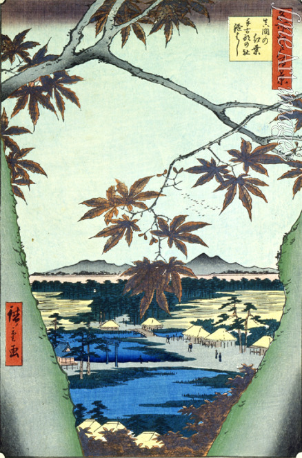 Hiroshige Utagawa - Maple Leaves and the Tekona Shrine and Bridge at Mama (One Hundred Famous Views of Edo)