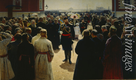 Repin Ilya Yefimovich - Alexander III receiving rural district elders in the yard of Petrovsky Palace in Moscow