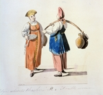 Geissler, Christian Gottfried Heinrich - Dairywomen and berries vendor (From the series The St. Petersburg Peddlers)