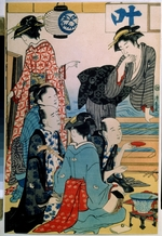 Kiyonaga, Torii - Women of the Gay Quarters (Diptych, left part)