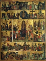 Russian icon - The Glorification of the Virgin (Akathist Hymn to the Most Holy Theotokos)
