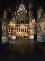 Old Russian Architecture - Interior with the iconostasis in the Assumption of the Blessed Virgin Cathedral in the Moscow Kremlin