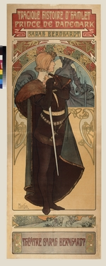 Mucha, Alfons Marie - Poster for the theatre play Hamlet by W. Shakespeare in the Theatre Sarah Bernardt (Upper part)
