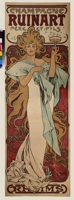 Mucha, Alfons Marie - Poster for Champagne Ruinart (Upper part)