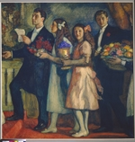Pasternak, Leonid Osipovich - Congratulation (Poet Boris Pasternak (1890-1960) with brother and sisters)