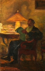 Pasternak, Leonid Osipovich - Leo Tolstoy with a newspaper