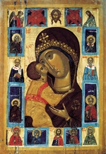 Russian icon - The Virgin Eleusa with Selected Saints