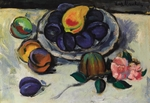 Mashkov, Ilya Ivanovich - Still Life with Plums and Pink Flower
